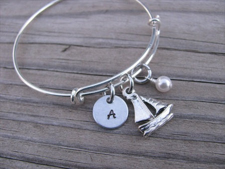 Sailboat Charm Bracelet- Adjustable Bangle Bracelet with an Initial Charm and an Accent Bead of your choice