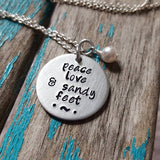 "Sandy Feet Necklace- Hand-Stamped Necklace ""peace love & sandy feet"" with an accent bead in your choice of colors"