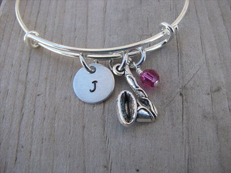 Saxophone Charm Bracelet- Adjustable Bangle Bracelet with an Initial Charm and an Accent Bead of your choice