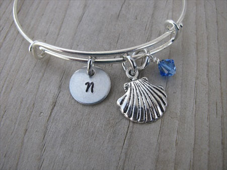 Seashell Charm Bracelet- Adjustable Bangle Bracelet with an Initial Charm and an Accent Bead of your choice