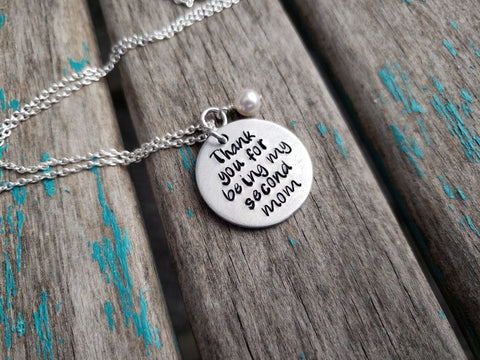 "Stepmom Inspiration Necklace- ""Thank you for being my second mom"" - Hand-Stamped Necklace with an accent bead in your choice of colors"