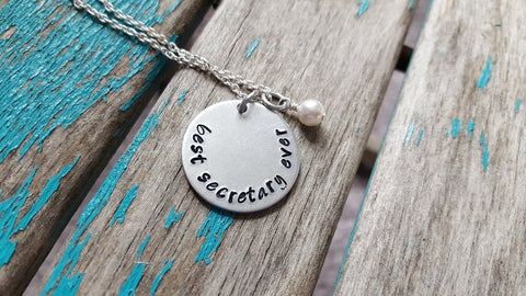 "Secretary Necklace- Hand-Stamped Necklace ""best secretary ever"" with an accent bead in your choice of colors"