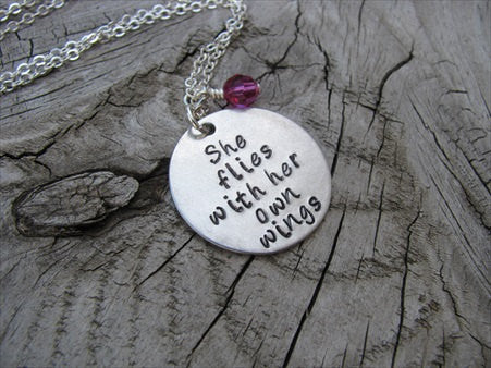 "She Flies With Her Own Wings Inspiration Necklace- ""She flies with her own wings""  - Hand-Stamped Necklace with an accent bead in your choice of colors"