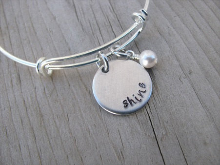 "Shine Inspiration Bracelet- ""shine""  - Hand-Stamped Bracelet  -Adjustable Bangle Bracelet with an accent bead of your choice"