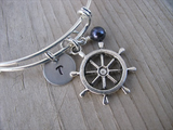 Ship's Wheel Charm Bracelet- Adjustable Bangle Bracelet with an Initial Charm and an Accent Bead of your choice
