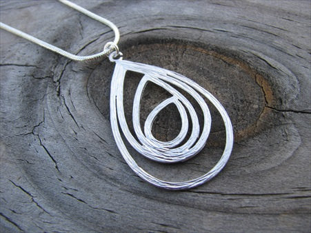 Silver Abstract Teardop Necklace- Simple, Modern, Silver Necklace