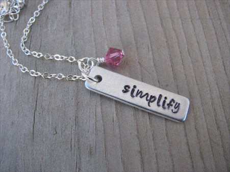 "Simplify Inspiration Necklace ""simplify""- Hand-Stamped Necklace with an accent bead in your choice of colors"