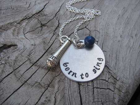 "Born to Sing Inspiration Necklace- ""born to sing"" with microphone charm  - Hand-Stamped Necklace with an accent bead in your choice of colors"