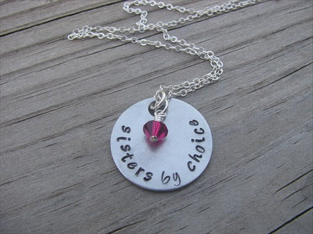 "Sisters By Choice Inspiration Necklace- ""sisters by choice"" - Hand-Stamped Necklace with an accent bead in your choice of colors"