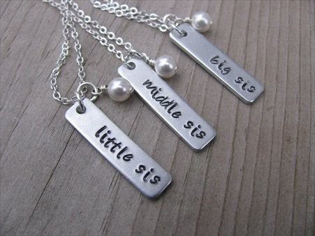 "Three Sisters Necklace Set- 3 Necklace Set- ""big sis"", ""middle sis"", ""little sis"" rectangle pendants- Hand-Stamped Necklaces  -with an accent bead of your choice"