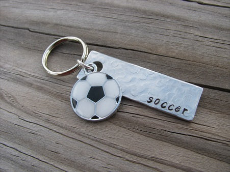 "Soccer Keychain- with name of your choice or ""soccer"" with a soccer ball charm- Keychain- Small, Textured, Rectangle Key Chain"