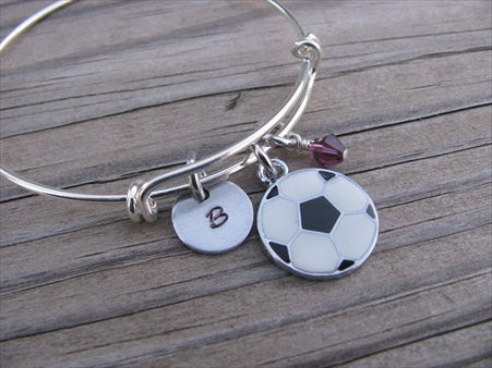 Soccer Charm Bracelet- Adjustable Bangle Bracelet with an Initial Charm and an Accent Bead of your choice