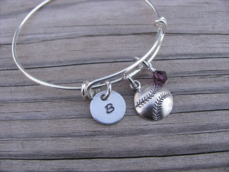 Softball/Baseball Charm Bracelet- Adjustable Bangle Bracelet with an Initial Charm and an Accent Bead of your choice