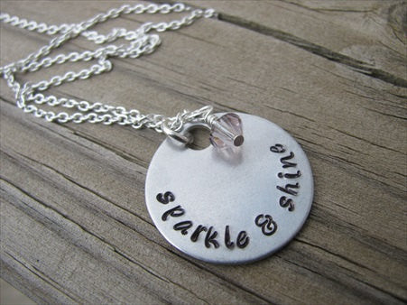 "Sparkle and Shine Inspiration Necklace- ""sparkle & shine"" - Hand-Stamped Necklace with an accent bead in your choice of colors"