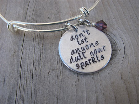 "Inspiration Bracelet- ""don't let anyone dull your sparkle""  - Hand-Stamped Bracelet- Adjustable Bangle Bracelet with an accent bead of your choice"