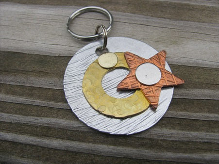 Silver, Gold, Copper Keychain- UNIQUE keychain- Textured Metal Keychain with Star