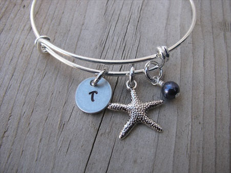 Starfish Charm Bracelet- Adjustable Bangle Bracelet with an Initial Charm and an Accent Bead of your choice