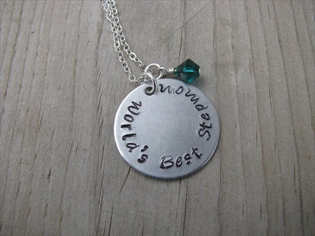 "World's Best Stepmom Inspiration Necklace- ""World's Best Stepmom"" - Hand-Stamped Necklace with an accent bead in your choice of colors"