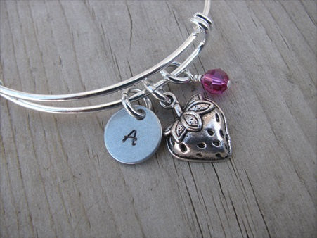 Strawberry Charm Bracelet- Adjustable Bangle Bracelet with an Initial Charm and an Accent Bead of your choice
