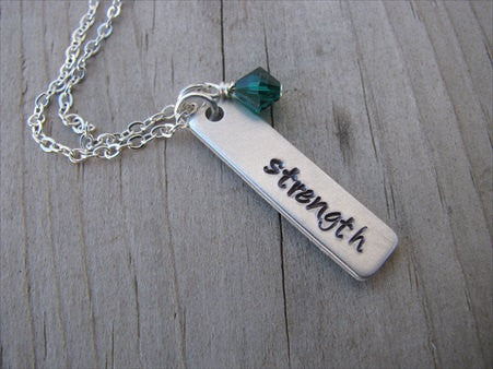 "Strength Inspiration Necklace ""strength""- Hand-Stamped Necklace with an accent bead in your choice of colors"