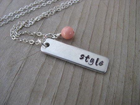 "Style Inspiration Necklace ""style""- Hand-Stamped Necklace with an accent bead in your choice of colors"
