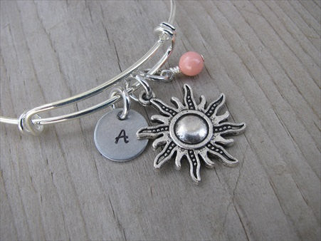 Sun Charm Bracelet- Adjustable Bangle Bracelet with an Initial Charm and an Accent Bead of your choice