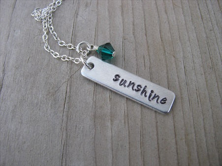 "Sunshine Inspiration Necklace ""sunshine""- Hand-Stamped Necklace with an accent bead in your choice of colors"
