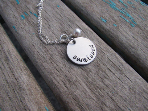 "Sunkissed Necklace- ""sunkissed""- Hand-Stamped Necklace with an accent bead in your choice of colors"