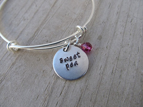 "Sweet Pea Bracelet- ""sweet pea""  - Hand-Stamped Bracelet- Adjustable Bangle Bracelet with an accent bead in your choice of colors"