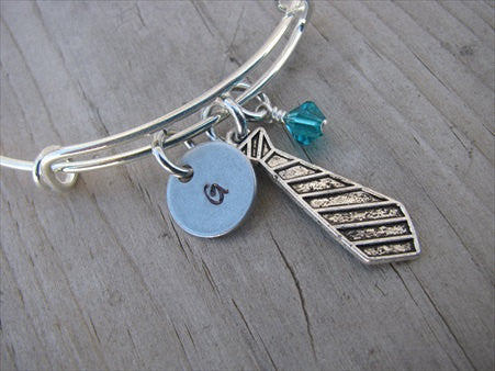 Necktie Charm Bracelet- Adjustable Bangle Bracelet with an Initial Charm and an Accent Bead in your choice of colors