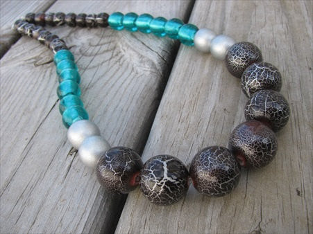 Bold, Statement Necklace- Chunky Beaded Necklace- Teal, Brown, Silver