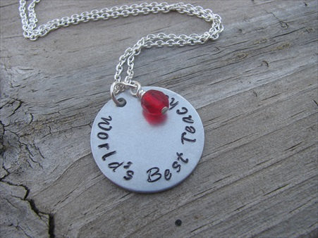 "Teacher Inspiration Necklace- ""World's Best Teacher"" - Hand-Stamped Necklace with an accent bead in your choice of colors"