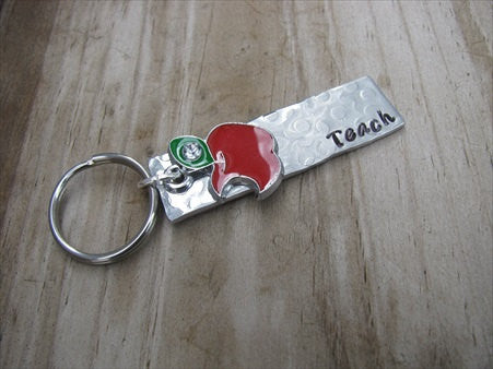 "Teacher's Keychain- Hand-Stamped, Hand-Textured ""Teach"" keychain with red apple charm- gift for teacher, daycare provider- small, narrow keychain"