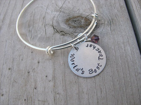 "Teacher's Bracelet- Hand-stamped ""World's Best Teacher""   - Hand-Stamped Bracelet- Adjustable Bangle Bracelet with an accent bead of your choice"
