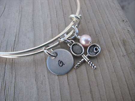 Tennis Charm Bracelet- Adjustable Bangle Bracelet with an Initial Charm and an Accent bead of your choice