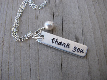 "Thank You Inspiration Necklace-""thank you"" - Hand-Stamped Necklace with an accent bead in your choice of colors"