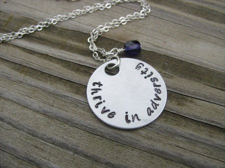 "Adversity Inspiration Necklace- ""thrive in adversity"" - Hand-Stamped Necklace with an accent bead in your choice of colors"