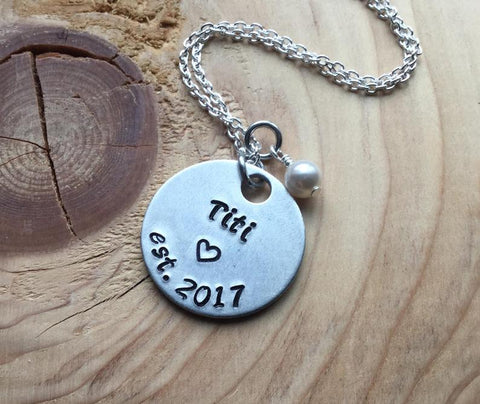 "Titi Necklace- Hand-stamped ""Titi est (year of choice)""  with a stamped heart - Hand-Stamped Bracelet- Adjustable Necklace with an accent bead of your choice"