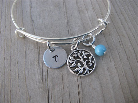 Tree Charm Bracelet- Adjustable Bangle Bracelet with an Initial Charm and an Accent Bead of your choice