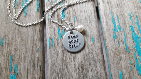 "Find Your Tribe Inspiration Necklace- ""find your tribe""- Hand-Stamped Necklace with an accent bead in your choice of colors"