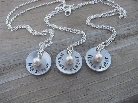 "Three Sisters Necklace Set- 3 Necklace Set- ""big sis"", ""middle sis"", ""little sis"" domed pendants- Hand-Stamped Necklaces  -with an accent bead of your choice"