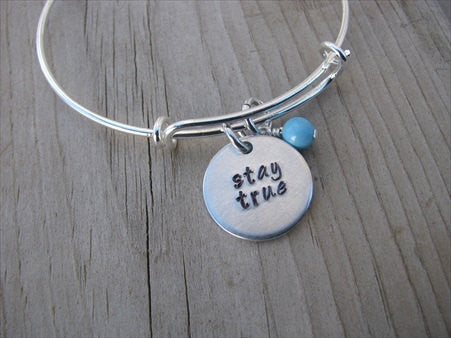 "Stay True Inspiration Bracelet- ""stay true""  - Hand-Stamped Bracelet-Adjustable Bracelet with an accent bead of your choice"