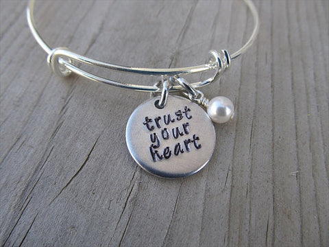 "Trust Your Heart Inspiration Bracelet- ""trust your heart""  - Hand-Stamped Bracelet-Adjustable Bracelet with an accent bead of your choice"