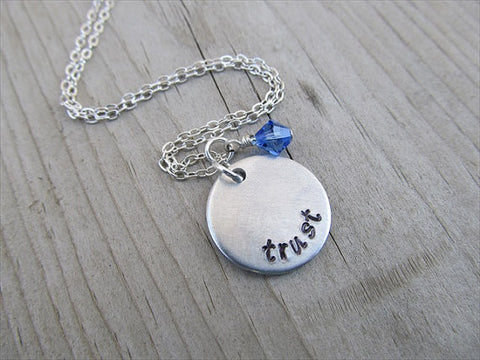 "Trust Inspiration Necklace- ""trust"" - Hand-Stamped Necklace with an accent bead in your choice of colors"