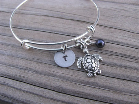Turtle Charm Bracelet- Adjustable Bangle Bracelet with an Initial Charm and an Accent Bead of your choice