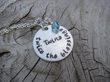 "Mother of Twins Necklace, Gift for Expectant Mother, New Mother, ""Twins- twice the blessings""   - Hand-Stamped Necklace with an accent bead of your choice"