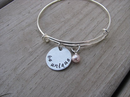 "Be Unique Inspiration Bracelet- ""be unique""  - Hand-Stamped Bracelet- Adjustable Bangle Bracelet with an accent bead of your choice"