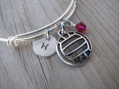 Volleyball Charm Bracelet- Adjustable Bangle Bracelet with an Initial Charm and an Accent Bead of your choice