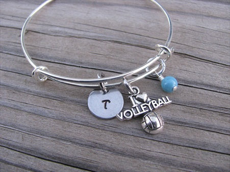 I ♥ Volleyball Charm Bracelet- Adjustable Bangle Bracelet with an Initial Charm and an Accent Bead of your choice