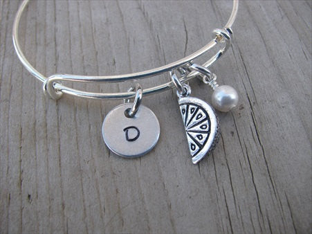 Watermelon Charm Bracelet- Adjustable Bangle Bracelet with an Initial Charm and an Accent Bead of your choice